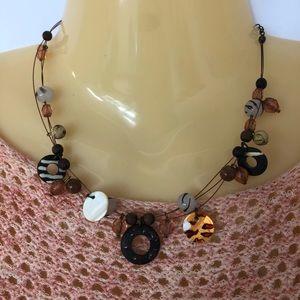 Jewelry - Choker Necklace Animal Print Wood Beads Handmade